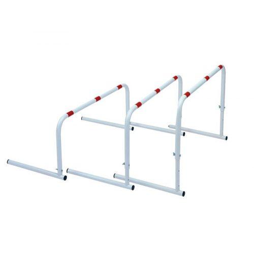 Set prepreka obojani čelik, 3-dijelni širine 80 cm, svi elementi podesivi na 30, 40, 50 cm
