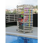 Ormar za pohranu, vodootporni dizajn za bazene s 3 vrata, 140x82x205cm, PVC, prljavo bijela