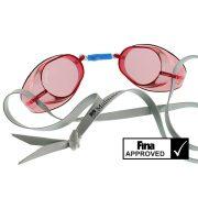 Naočale za plivanje glatke crvene prozirne ne-antifog, odobrene naočale od FINA, Malmsten