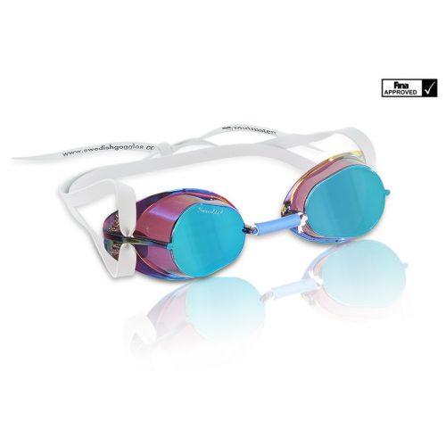 Švedske naočale za plivanje sa plavim reflektirajućim metallic lećama . Naočale natjecanja odobrene od FINA-e, Malmsten