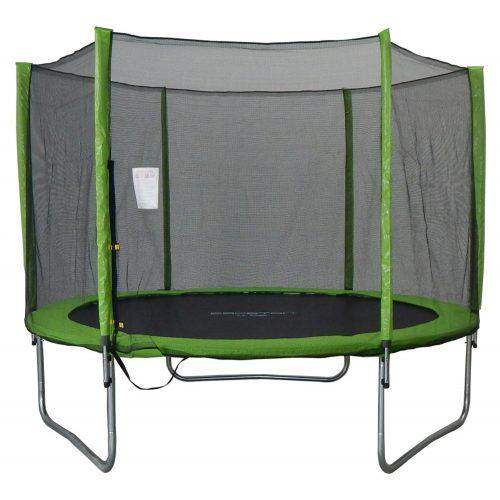 Trampolin Capetan® Omega 305cm promj. U Lime boji ,specijalno pričvršćivanje okvira T-elementom ojačan trampolin s iznimno visokom zaštitnom mrežom- vanjski trampolin sa debelom spužvom, skakačkom površinom 80 cm visine