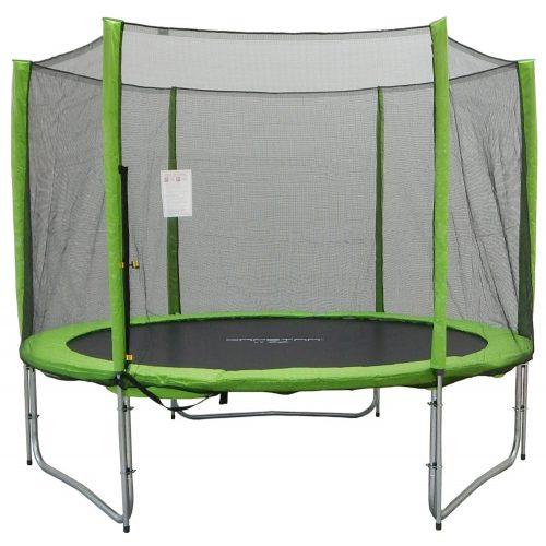 Trampolin Capetan® Selector Lime 427cm promj. 180kg nosivosti, s dugačkim stupovima zaštitne mreže ,specijalno pričvršćivanje okvira T-elementom ojačan trampolin s iznimno visokom zaštitnom mrežom – vanjski trampolin s debelom spužvom, 80 cm visoka