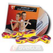 Elastiband fitnes gumena traka jačanje + DVD,  otpor 10 kg srednje jačine, 80x4 cm