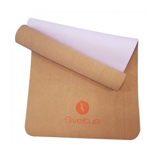 Joga tepih od pluta (joga mat 180x61x0,4 cm, pluta / ljubičasta površina