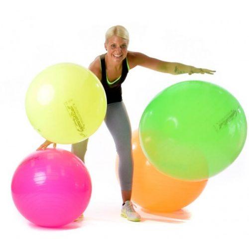 Fitball gimnastička lopta 65 cm NEON ORANGE boja, standardni sjajni materijal