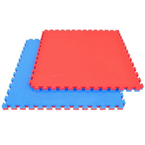 Capetan® Floor Line 100x100x4cm crveni / plavi puzzle tatami tepih sa zaštitnim rubom