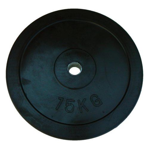 Capetan® gumirani 31mm promjera, 15 kg standardni utegni disk s čeličnim prstenom u sredini