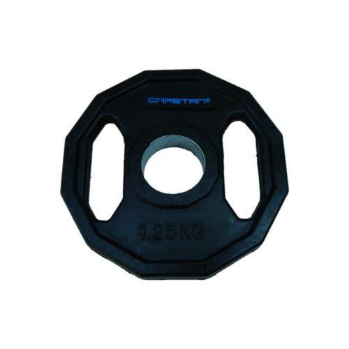 Capetan® Olympia 1,25 kg utegni disk gumirane površine s dvije ručke, kvadratna zaštita od prevrtanja s promjerom rupe od 51mm.