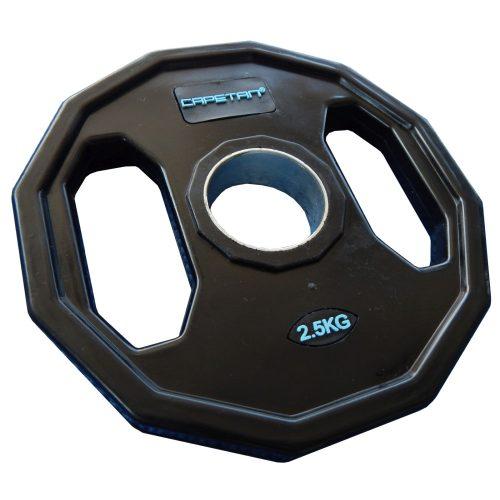 Capetan® Olympia 2,5 kg utegni disk gumirane površine s dvije ručke, kvadratna zaštita od prevrtanja s promjerom rupe od 51mm