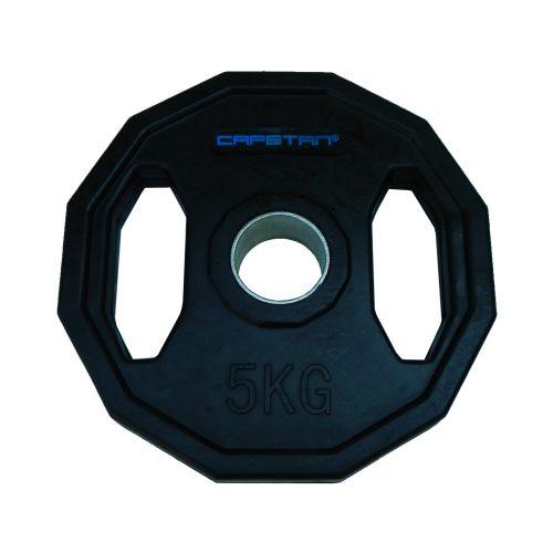 Capetan® Olympia 5 kg utegni disk gumirane površine s dvije ručke, kvadratna zaštita od prevrtanja s promjerom rupe od 51mm