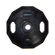 Capetan® Olympia 25 kg utegni disk gumirane površine s dvije ručke, kvadratna zaštita od prevrtanja s promjerom rupe od 51mm
