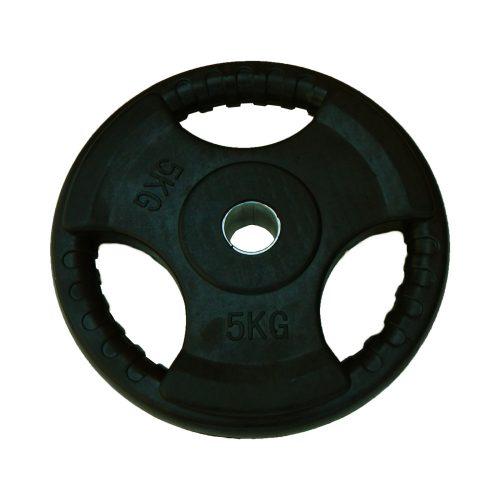 Capetan® Tri Grip gumirani ergonomski utegni disk od 5 kg s promjerom rupe 31 mm