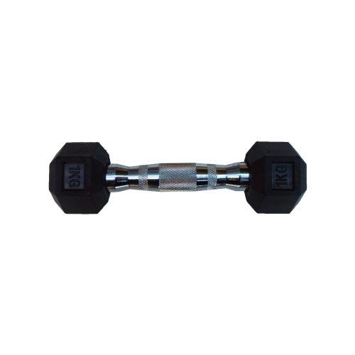 Capetan® Professional Line 1kg šesterokutna jednoručna bučica s gumiranom glavom, kromirana drška : šesterokutna ručna bučica