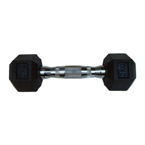 Capetan® Professional Line 2kg šesterokutna jednoručna bučica s gumiranom glavom, kromirana drška: šesterokutna gumirana ručna bučica