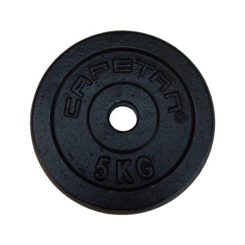 Capetan® 5 kg 31mm promjer, čelični pločasti uteg s premazom crne boje svilenkastog sjaja:željezni utegni disk