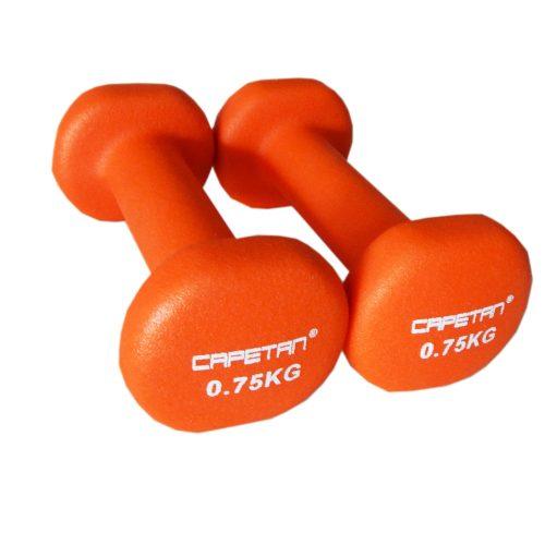 Capetan® Par jednoručnih bučica s neoprenski premazom 2x0,75 kg - bučica obložena neoprenom